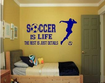 Soccer is Life Wall Decal - soccer wall decor, soccer vinyl, soccer sports decal, sports wall decal, kids room decor, sports decor
