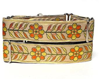 martingale collar, dog collar, BONITA, Spanish floral, Floral martingale, Greyhound Collar, Sighthound Collar, training collar, yellow