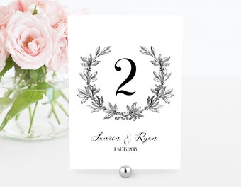 Printable Wedding Table Number Card, Vintage Wreath, Editable Template, DIY Rustic Wedding Reception Seating Card, PDF File, 5x7 #029-108TC