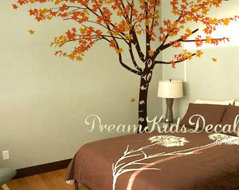 Maple Tree wall decals Wall sticker Wall Murals, Large tree for twins, Nursery Tree Decal,  Maple tree decal, Kid's room Decal-DK257