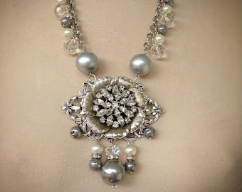 Rhinestone and silver necklace
