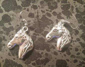 Horsehead Earrings - Silver Tone