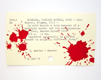 Truman Capote Library Card Art - Print of my painting on card for In Cold Blood