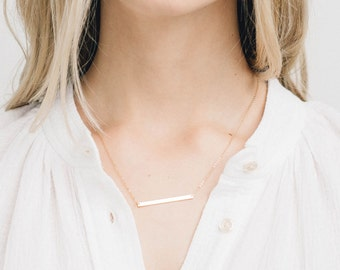 Long Skinny Bar Necklace, Personalized 14k Gold Filled, Sterling Silver, or Rose Gold Filled Sleek Bar / GLDN Skinny Bar Necklace, TURRELL