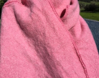 soft cashmere sweater scarf with pink crocheted trim