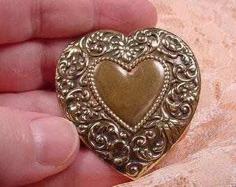 flower scrolled design heart repro Victorian brass pin pendant Victorian brooch B-Heart-10