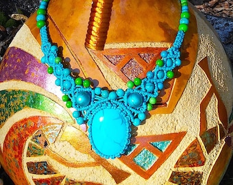 Handcrafted Blue Macrame Neclace with Gemstone