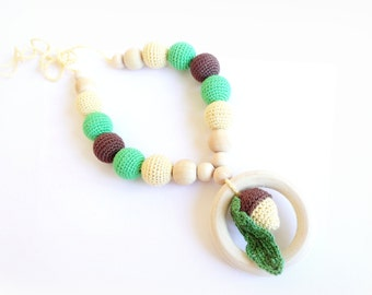 Nursing teething Necklace Crochet Acorns Ring toy Autumn color Breastfeeding Teething necklace Slinging mom