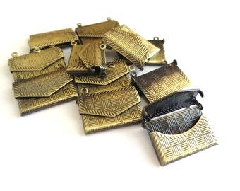 Antique Brass Envelope Pendant