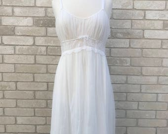 Vintage 70's White Chiffon Nightgown with Lace Bodice and Bow