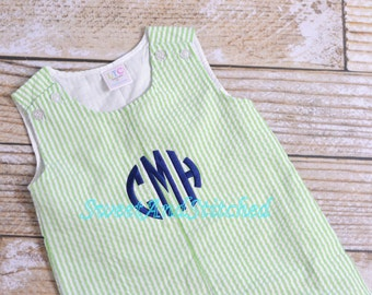 Monogrammed Boys Beach outfit, toddler romper or jon jon, seersucker wedding outfit, monogrammed ring bearer outfit, boys summer outfit