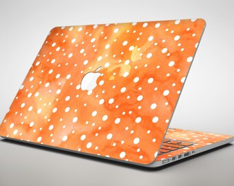 White Polka Dots Over Orange Watercolor Grunge - Apple MacBook Air or Pro Skin Decal Kit (All Versions Available)