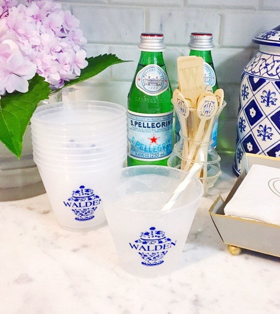 Ginger jar cups personalized plastic cups shatterproof cup blue and white ginger jars wedding reception cups baby shower cup frosted cups