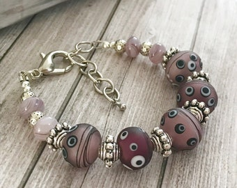 Purple lampwork glass bracelet, Beaded art glass  Artisan handmade lampwork abstract bracelet, one of a kind jewelry