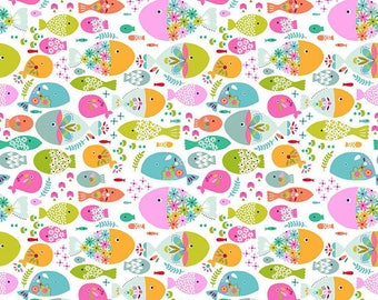 Blend Fabrics by Maude Asbury Go Fish, Swimming with the fishes Choose your cut