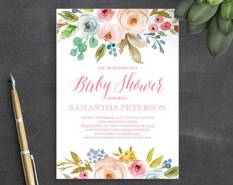 Printable Baby Shower Invitation Template, Instant Download, Baby Shower Invitation, Floral, Watercolor, Boho, Baby Shower Invites