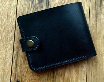 Compact men's wallet made from genuine leather