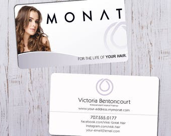 Monat Business Cards - Sleek White Picture Ft with White & Purple Bk - Durable 16pt - Rich Matte Finish-PRINTED and SHIPPED directly to YOU!