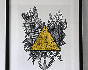Poster A4 size flowers illustration
