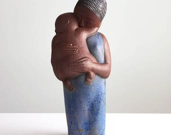 Noel Osheroff for Robert Maxwell Ceramics Mother and Child Stoneware Pottery Sculpture