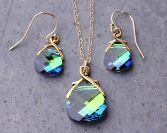Aqua sphinx briolette Gold Necklace & Earring Set, blue green color changing Swarovski crystals - free shipping USA