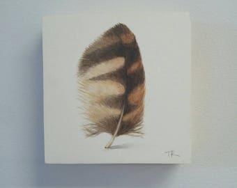 Chouette plume de peinture, Art Original de plume, peinture à l'aquarelle, décor moderne, décor à la maison, décoration hippie, décor naturel, art de hibou