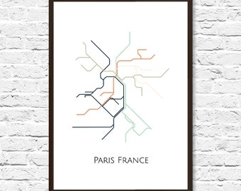 Paris Print Paris Metro Map Subway Art Paris Subway Map
