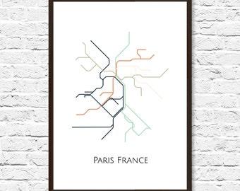 paris metro map transit map paris france art paris map art subway map subway poster artparis subway paris metro map