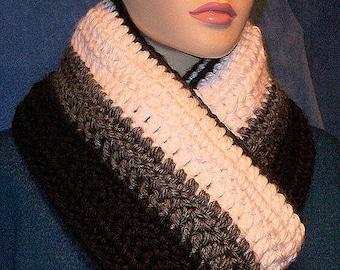 Crochet Infinity Scarf, Black Crochet Infinity Scarf, Infinity Scarf,Gray Scarf, Handmade Scarf, White Crochet Scarf, White Black Gray Scarf