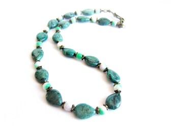 Collana donna diaspro girocollo pietre dure collana pietra verde collana girocollo donna di perline pietre naturali diaspro e agata ottone