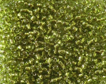 Seed beads 11/0 (2mm) silver lime green
