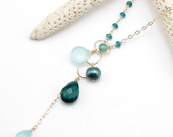 aqua necklaces il briolette drop necklace na peacock market gold coast pearl chalcedony apatite etsy freshwater pali teal quartz