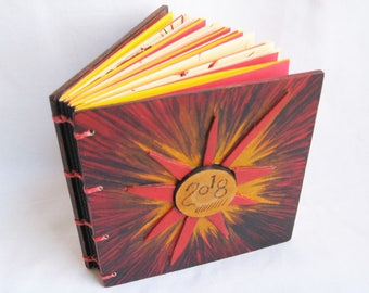 Small Square Journal, Multicolor notebook, Fun little book, Blank book, Crafty notebook, Sunburst book, Red Yellow Orange, bright color book