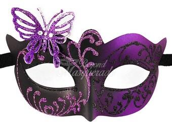 Masquerade Mask, Masquerade Mask, Butterfly Mask, Purple/Black Mask, Wedding Masquerade Mask, Mardi Gras Masquerade Mask, Masquerade Ball