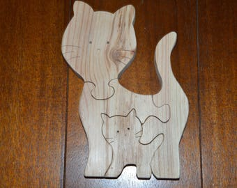 Wooden Toy / Puzzle 4 pieces / cat and kitten / educational game