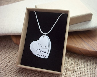 Personalised stacked heart name layered hearts necklace hand stamped  ~ Mother - Children