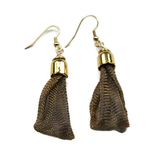 Copper Mesh Dangle Earrings