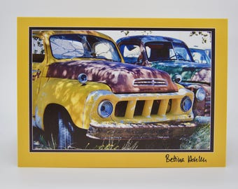"Photo Greeting Card - New Mexico Rusty Trucks - Folded 5""x7"""