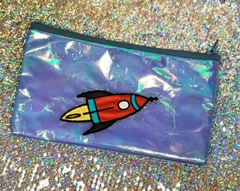 Moonlit Rocket Pencil Pouch - Small Cosmetic Zipper Bag - Pencil Case - Purse Organizer - Makeup Bag - Small Toiletry Bags - Cord Keeper