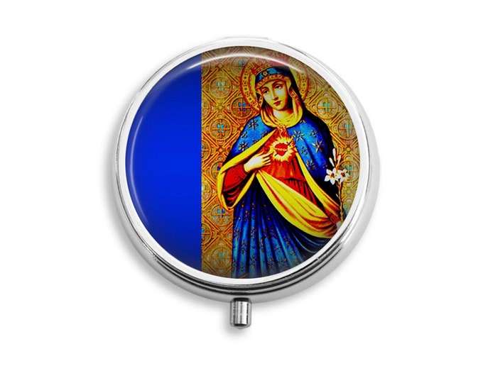 Pill Box Case Immaculate Heart of Mary Silver Stash