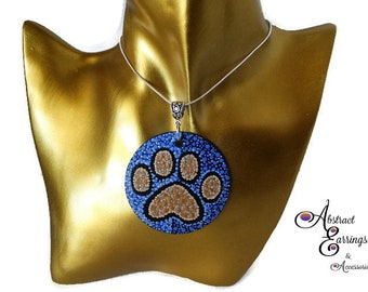 Paw Print Pendant, Animal Lover Pets Awareness Advocate Pendant Necklace Jewelry, Dog Cat Bear Paw Print Fashion Art Jewelry for Festivals