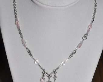 Upcycled Necklace Earrings Set Pink Silver Hand Wrought Wire Link  #884 One Of A Kind