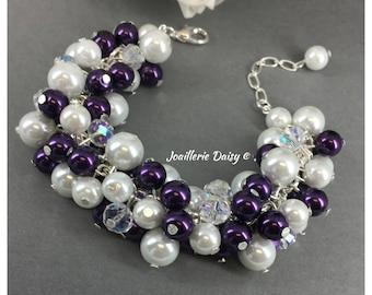Bridesmaid Jewelry Dark Purple Bracelet Purple Jewelry Cluster Bracelet Bridesmaids Gift for Her Miad of Honor Gift Wedding Jewelry