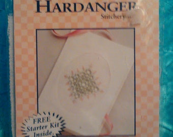 """Vintage Creative World DMC Hardanger Stitchery Kit Counted Cross Stitch """"Rosebuds"""" Card And Envelope New Never Opened"""