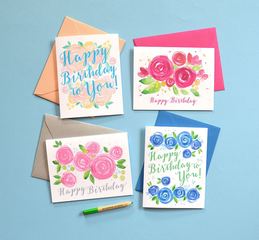 Floral Watercolor Birthday Card Set Happy Birthday Cards