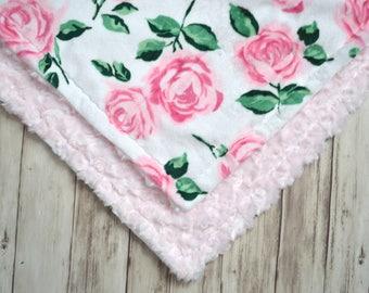 Minky Lovey Baby Blanket - 14 inch Woobie, Pink Rosebud Minky and Rose Print - Newborn Mini security blanket, Personalized, Name