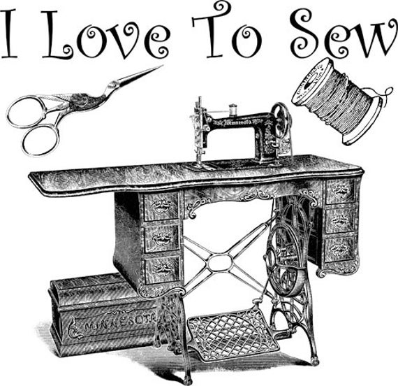 love to sew sewing machine printable art print png clipart transparent digital download vintage image graphics DIY crafts home decor