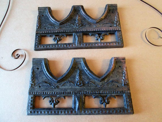 """2 Large 4 1/2"""" x 2 1/2"""" Heavy Antique Cast Metal Clock Case / Furniture/ Wall Ornaments  for your Creative Projects, Steampunk Art"""