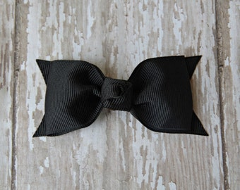Black Tuxedo Style Toddler Hair Bow 3 Inch Alligator Clip Baby Hairbow