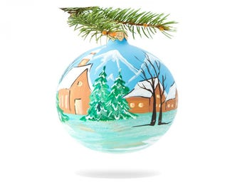 Holiday bauble ball-blown glass ball-original bauble-poland glass bauble-handmade xmas gift-classic bauble decor-holiday ornament ball-074